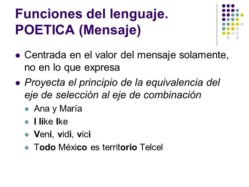 Funciones del lenguaje. POETICA (Mensaje) Centrada en el valor del mensaje solamente, no en lo que expresa Proyecta el principio de la equivalencia de