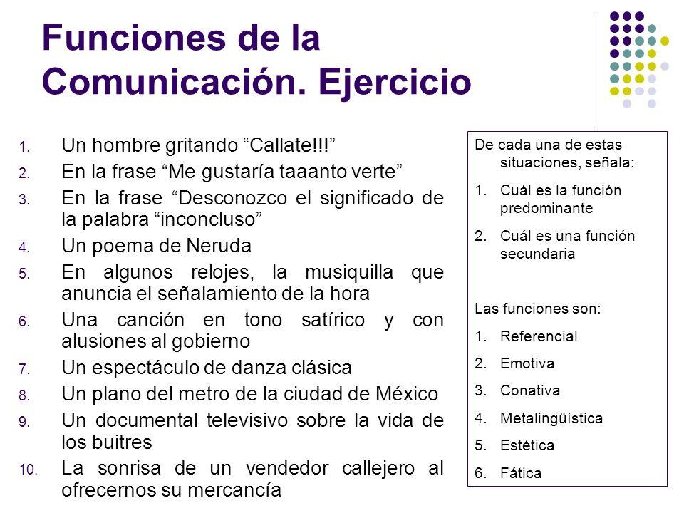 Funciones de la Comunicación. Ejercicio 1. Un hombre gritando Callate!!! 2. En la frase Me gustaría taaanto verte 3. En la frase Desconozco el signifi