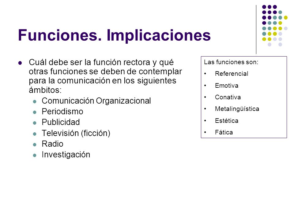 Funciones. Implicaciones Cuál debe ser la función rectora y qué otras funciones se deben de contemplar para la comunicación en los siguientes ámbitos: