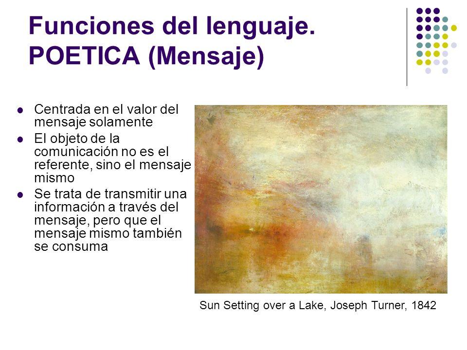 Funciones del lenguaje. POETICA (Mensaje) Centrada en el valor del mensaje solamente El objeto de la comunicación no es el referente, sino el mensaje
