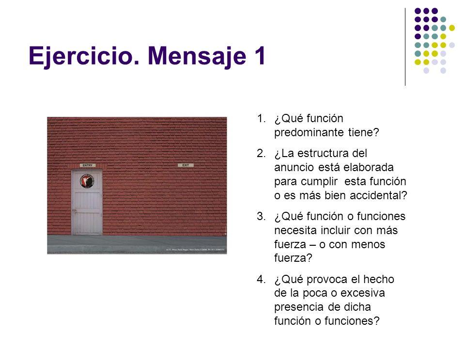 Ejercicio. Mensaje 1 1.¿Qué función predominante tiene? 2.¿La estructura del anuncio está elaborada para cumplir esta función o es más bien accidental