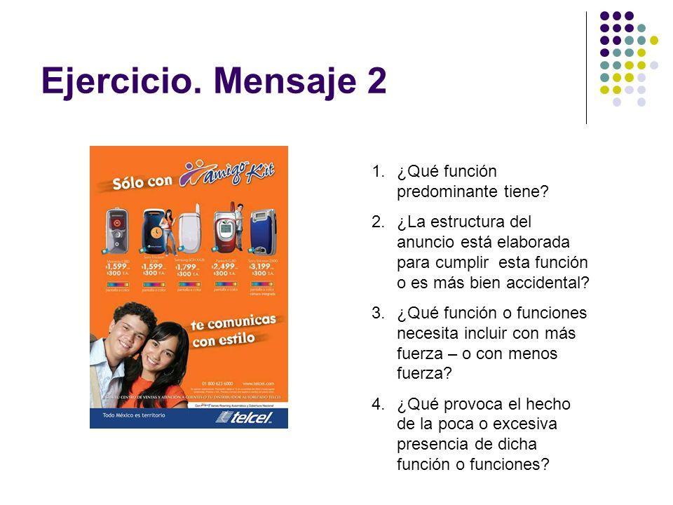 Ejercicio. Mensaje 2 1.¿Qué función predominante tiene? 2.¿La estructura del anuncio está elaborada para cumplir esta función o es más bien accidental