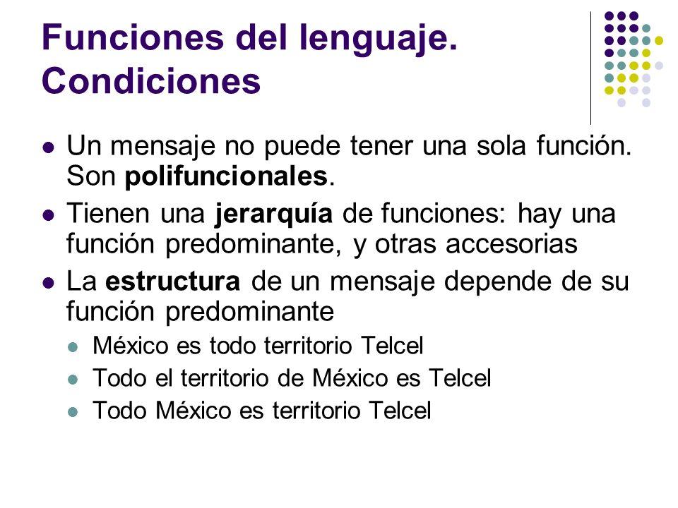 Funciones del lenguaje. Condiciones Un mensaje no puede tener una sola función. Son polifuncionales. Tienen una jerarquía de funciones: hay una funció