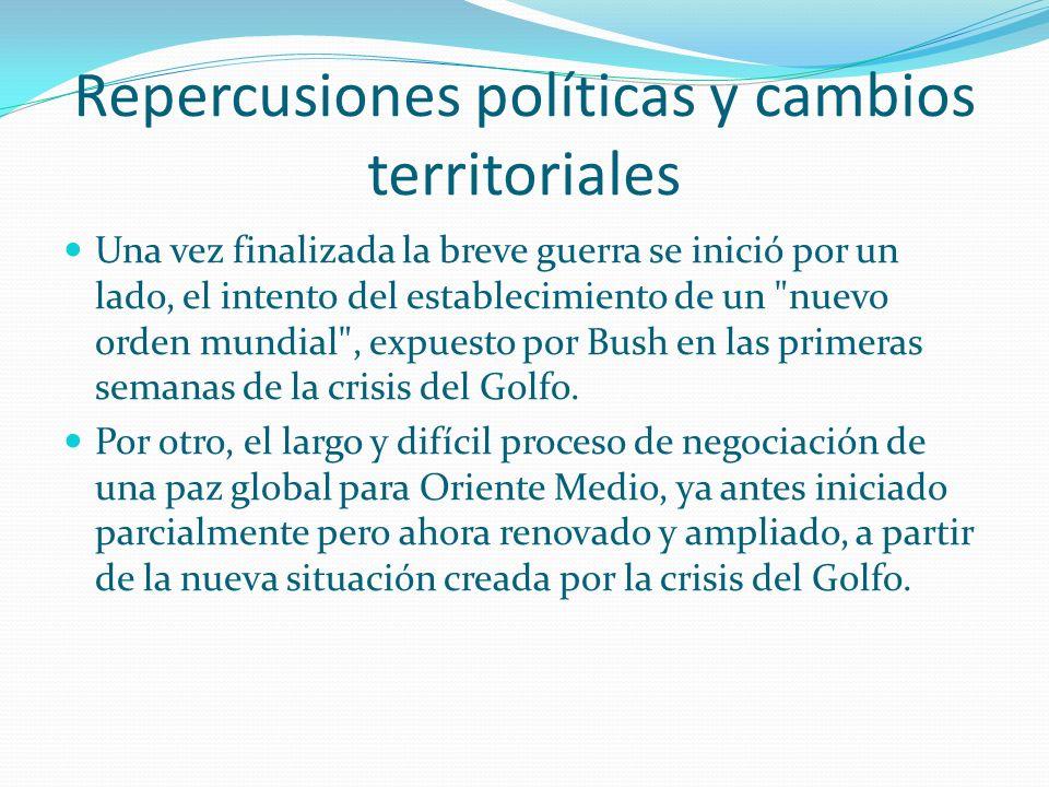 Repercusiones políticas y cambios territoriales Las consecuencias de este conflicto con la intervención militar liderada por Estados Unidos y cuyo res
