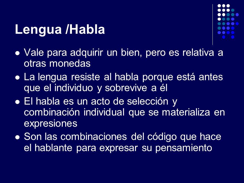 Lengua /Habla Vale para adquirir un bien, pero es relativa a otras monedas La lengua resiste al habla porque está antes que el individuo y sobrevive a