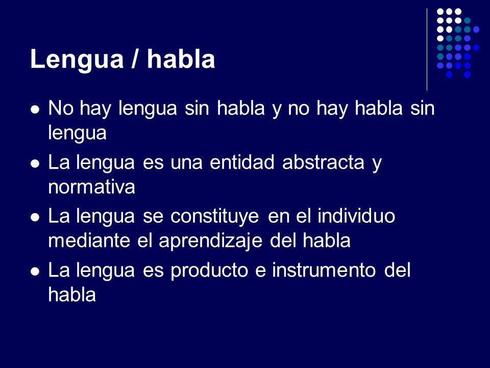 Lengua / habla No hay lengua sin habla y no hay habla sin lengua La lengua es una entidad abstracta y normativa La lengua se constituye en el individu