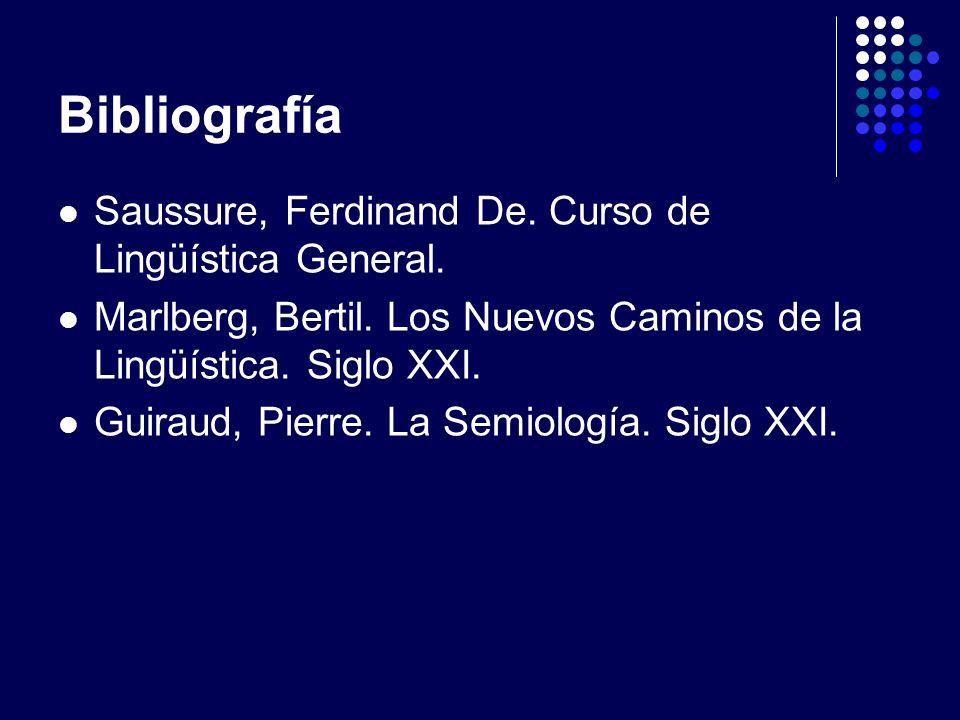 Bibliografía Saussure, Ferdinand De. Curso de Lingüística General. Marlberg, Bertil. Los Nuevos Caminos de la Lingüística. Siglo XXI. Guiraud, Pierre.