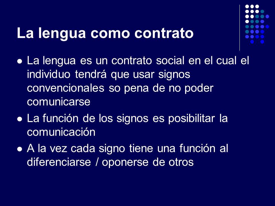 La lengua como contrato La lengua es un contrato social en el cual el individuo tendrá que usar signos convencionales so pena de no poder comunicarse
