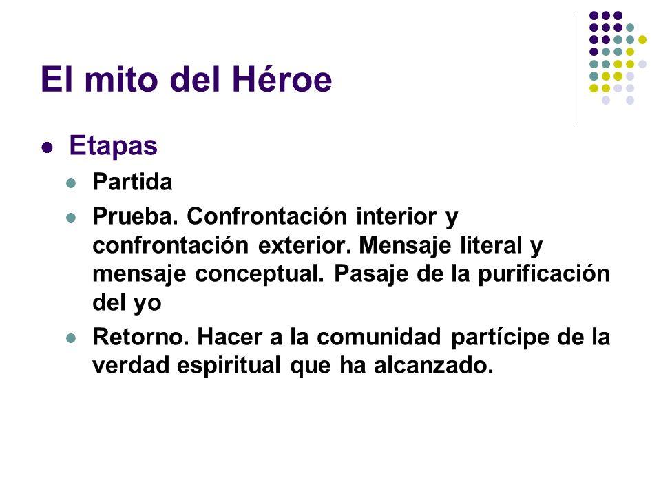 El mito del Héroe Etapas Partida Prueba. Confrontación interior y confrontación exterior. Mensaje literal y mensaje conceptual. Pasaje de la purificac