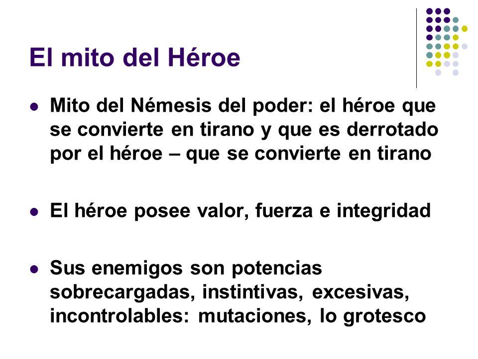 El mito del Héroe Mito del Némesis del poder: el héroe que se convierte en tirano y que es derrotado por el héroe – que se convierte en tirano El héro