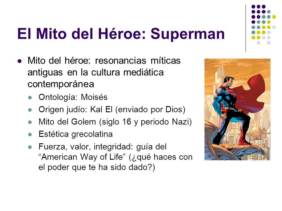 El Mito del Héroe: Superman Mito del héroe: resonancias míticas antiguas en la cultura mediática contemporánea Ontología: Moisés Origen judío: Kal El