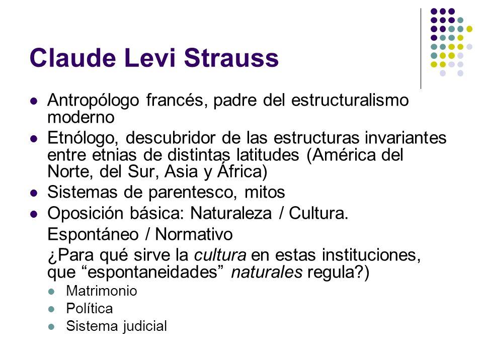 Claude Levi Strauss Antropólogo francés, padre del estructuralismo moderno Etnólogo, descubridor de las estructuras invariantes entre etnias de distin