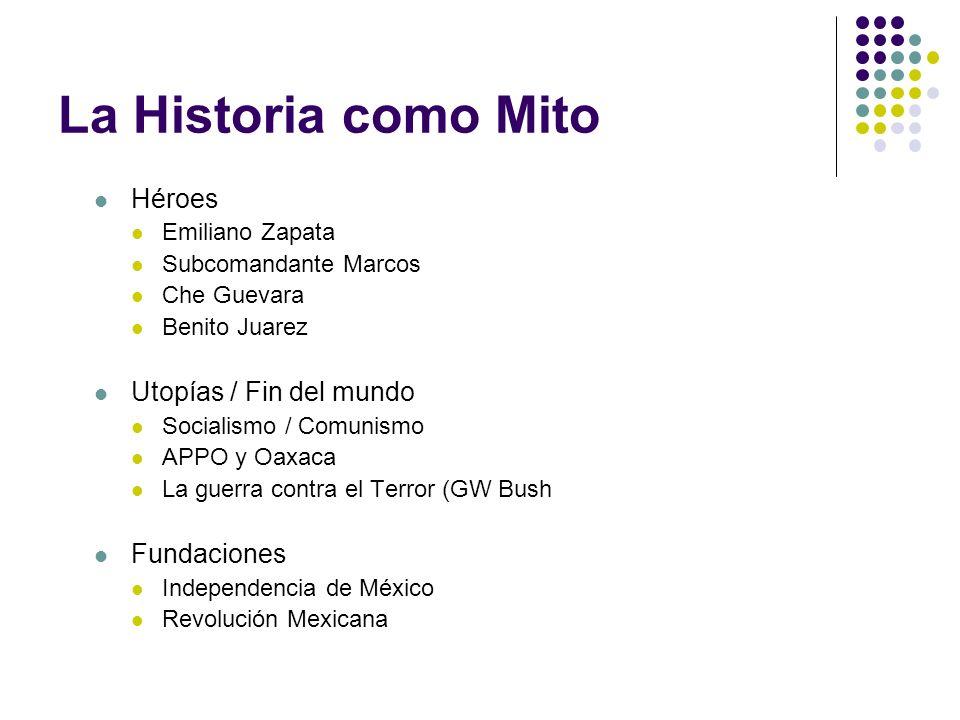 La Historia como Mito Héroes Emiliano Zapata Subcomandante Marcos Che Guevara Benito Juarez Utopías / Fin del mundo Socialismo / Comunismo APPO y Oaxa