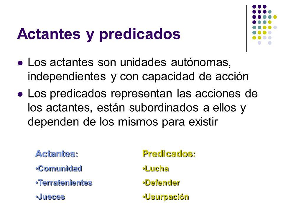 Actantes y predicados Los actantes son unidades autónomas, independientes y con capacidad de acción Los predicados representan las acciones de los act