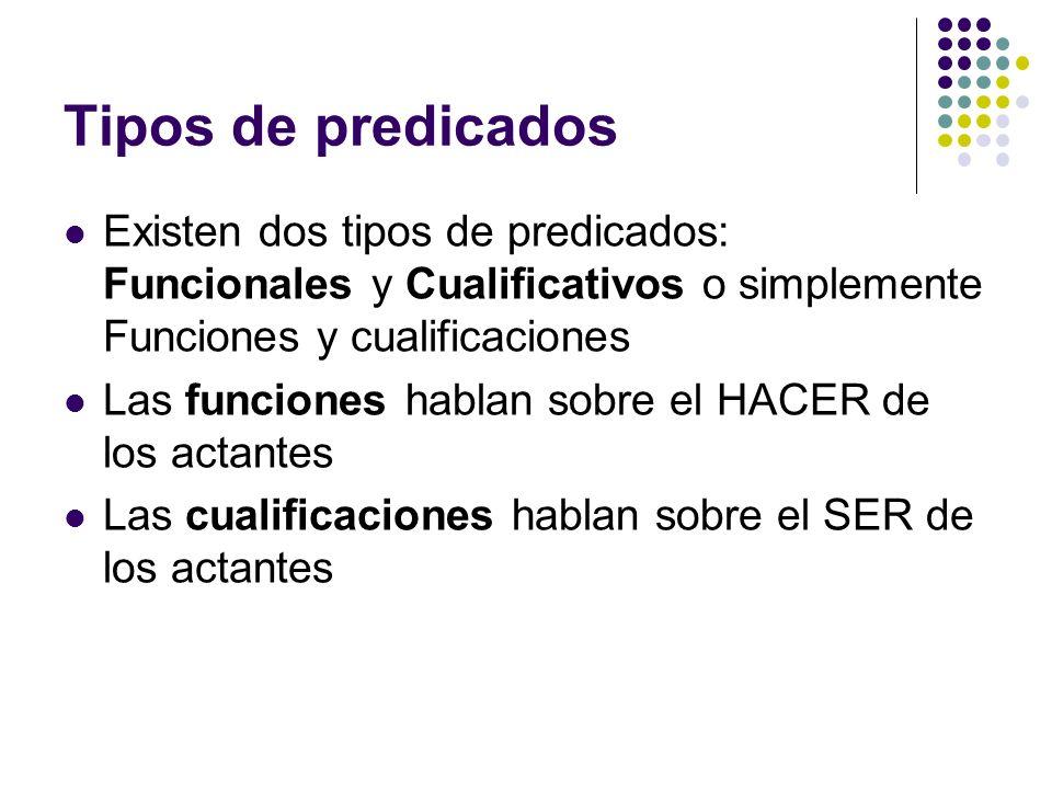 Tipos de predicados Existen dos tipos de predicados: Funcionales y Cualificativos o simplemente Funciones y cualificaciones Las funciones hablan sobre