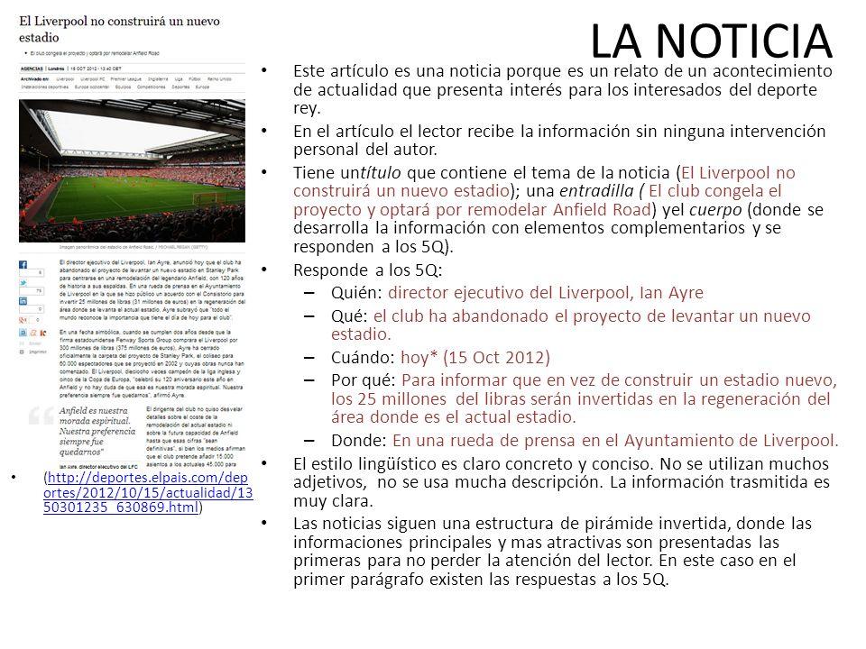 LA NOTICIA (http://deportes.elpais.com/dep ortes/2012/10/15/actualidad/13 50301235_630869.html)http://deportes.elpais.com/dep ortes/2012/10/15/actuali