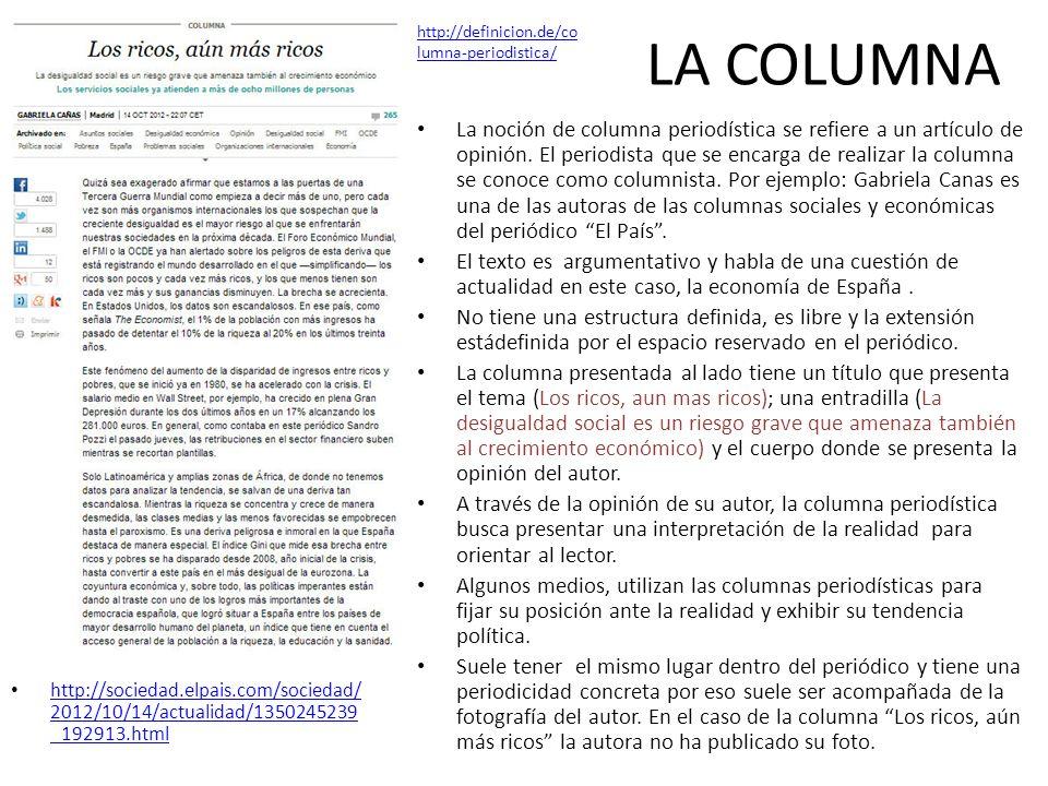 LA COLUMNA http://sociedad.elpais.com/sociedad/ 2012/10/14/actualidad/1350245239 _192913.html http://sociedad.elpais.com/sociedad/ 2012/10/14/actualid