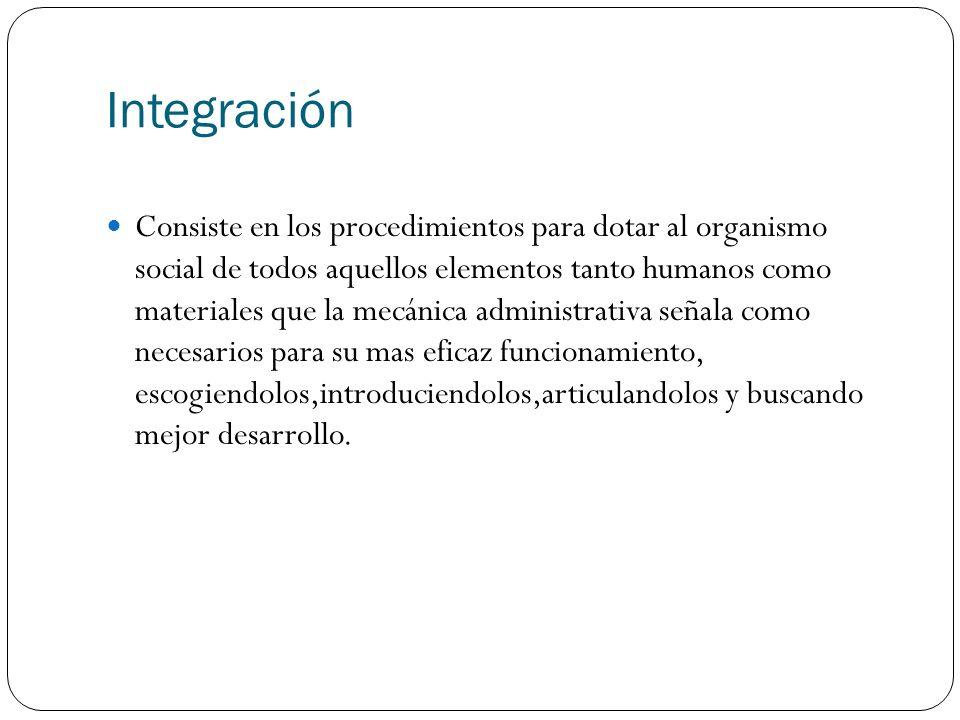 Integración Consiste en los procedimientos para dotar al organismo social de todos aquellos elementos tanto humanos como materiales que la mecánica ad
