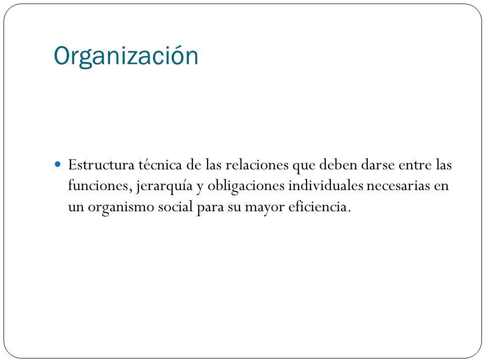 Organización Estructura técnica de las relaciones que deben darse entre las funciones, jerarquía y obligaciones individuales necesarias en un organism