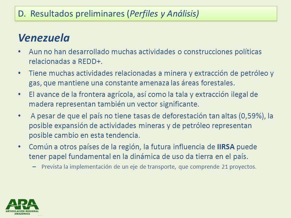 Venezuela Aun no han desarrollado muchas actividades o construcciones políticas relacionadas a REDD+. Tiene muchas actividades relacionadas a minera y