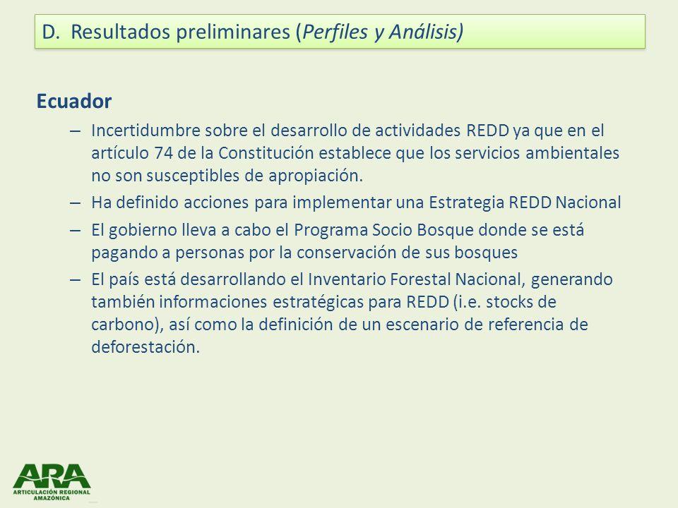 Ecuador – Incertidumbre sobre el desarrollo de actividades REDD ya que en el artículo 74 de la Constitución establece que los servicios ambientales no