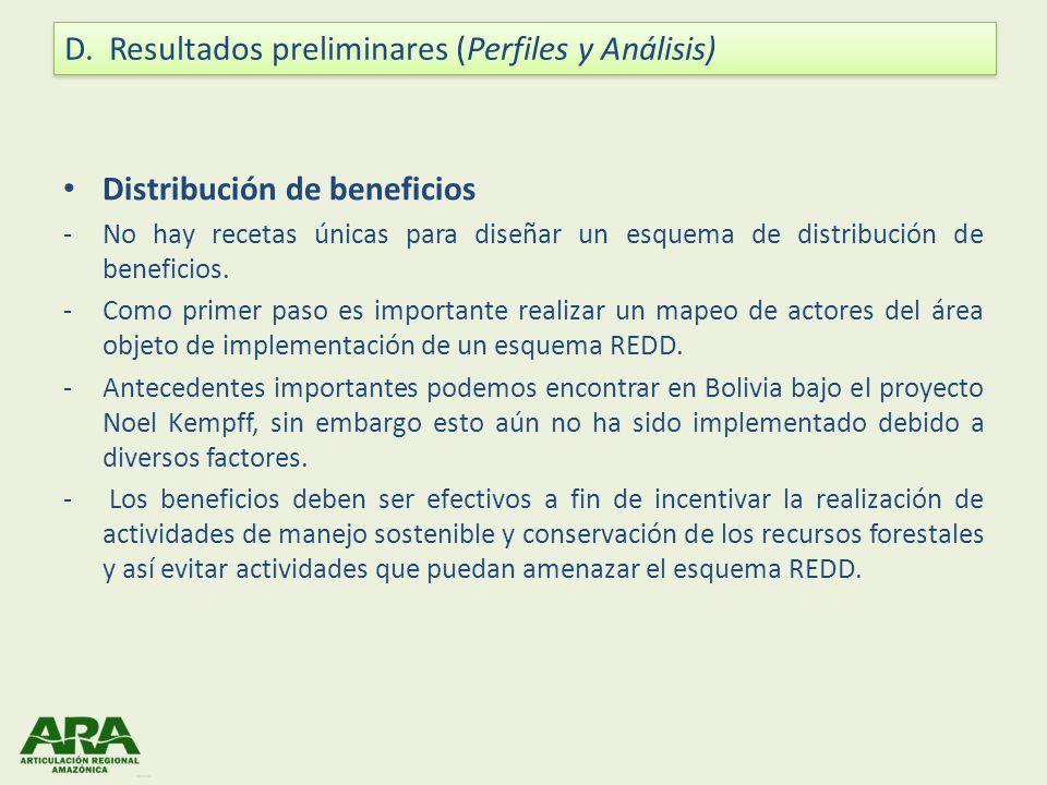 Distribución de beneficios -No hay recetas únicas para diseñar un esquema de distribución de beneficios. -Como primer paso es importante realizar un m