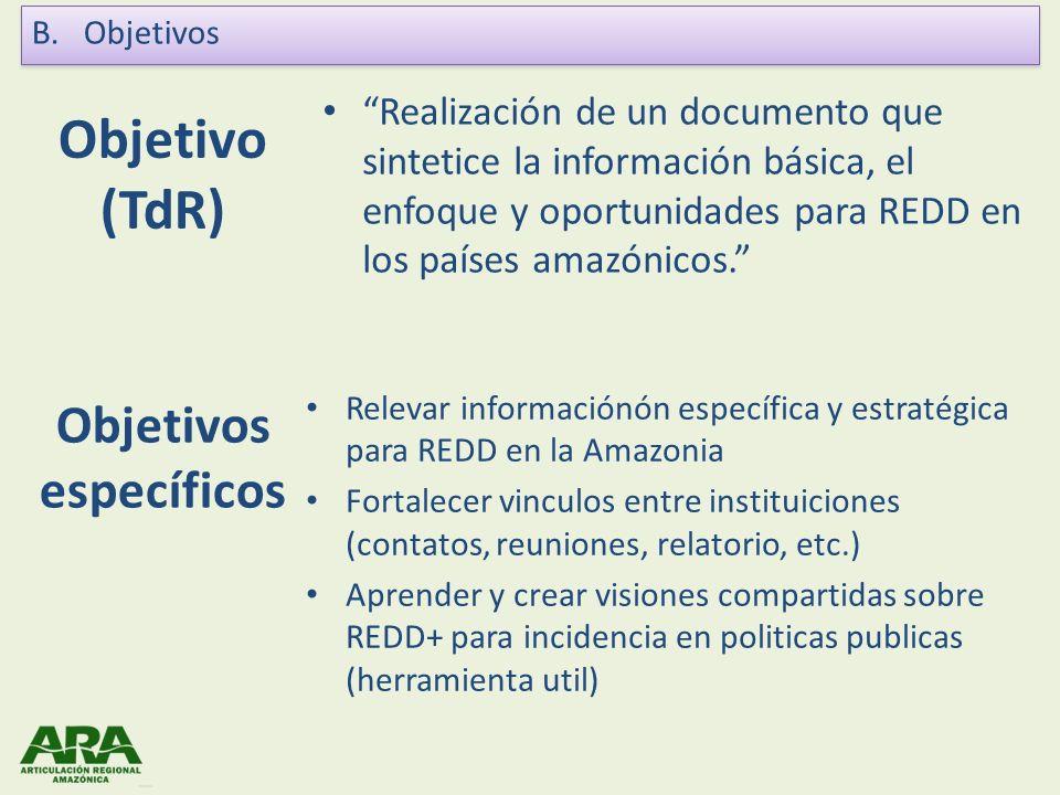 Objetivo (TdR) Realización de un documento que sintetice la información básica, el enfoque y oportunidades para REDD en los países amazónicos. Objetiv