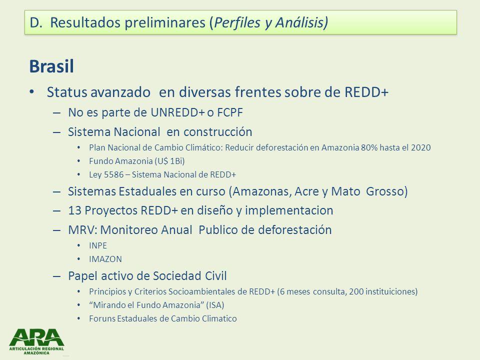 Bolivia Posición ha cambiado bastante en los últimos años Actualmente cuestiona REDD+ como mecanismo de mercado Con todo: – Está bajo UN-REDD ($ 5 millones) – Proceso de aprobación en el FCPF – Cooperación con Alemania para REDD firmada durante el 2010 ( 10 millones) Además de programas gubernamentales, se vienen diseñando proyectos de REDD+: – Programa Indígena REDD en la Amazonía Boliviana (FAN y otros) – Proyecto Noel Kempff: certificó la reducción de 1 millón de tCO2 (y tenta concretizar la venda) Necesidad de construir un marco legal que reglamente el desarrollo e implementación de estas iniciativas y derechos de carbono y distribución de beneficios.
