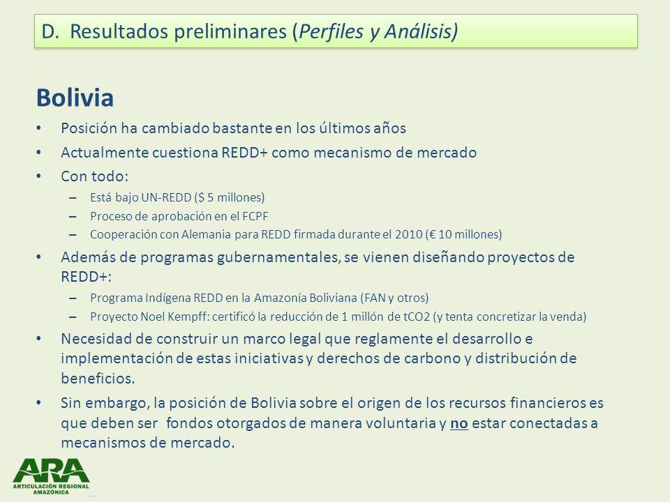 Bolivia Posición ha cambiado bastante en los últimos años Actualmente cuestiona REDD+ como mecanismo de mercado Con todo: – Está bajo UN-REDD ($ 5 mil