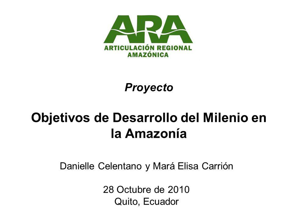 Proyecto Objetivos de Desarrollo del Milenio en la Amazonía Danielle Celentano y Mará Elisa Carrión 28 Octubre de 2010 Quito, Ecuador