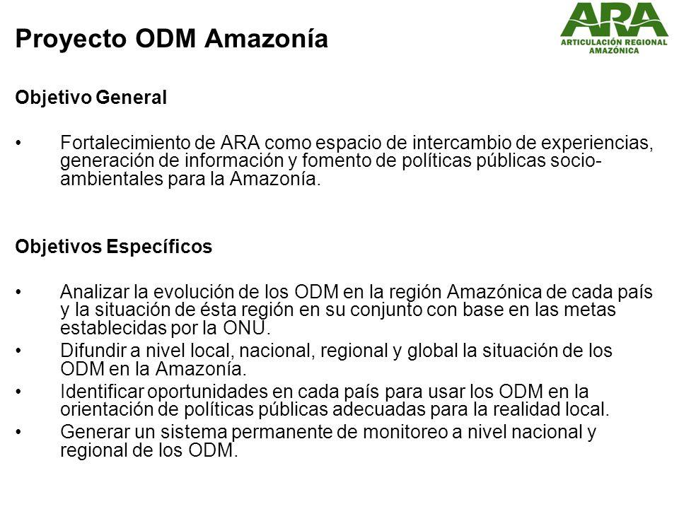 Proyecto ODM Amazonía Objetivo General Fortalecimiento de ARA como espacio de intercambio de experiencias, generación de información y fomento de políticas públicas socio- ambientales para la Amazonía.