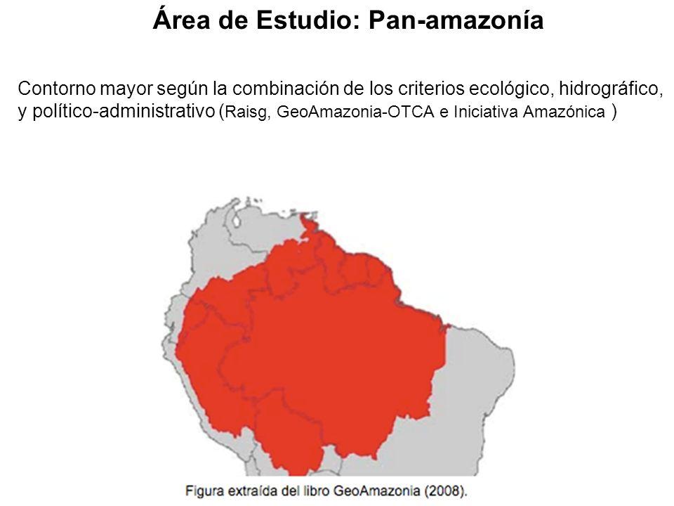 Contorno mayor según la combinación de los criterios ecológico, hidrográfico, y político-administrativo ( Raisg, GeoAmazonia-OTCA e Iniciativa Amazónica ) Área de Estudio: Pan-amazonía Figura extraída del libro GeoAmazonia (2008).