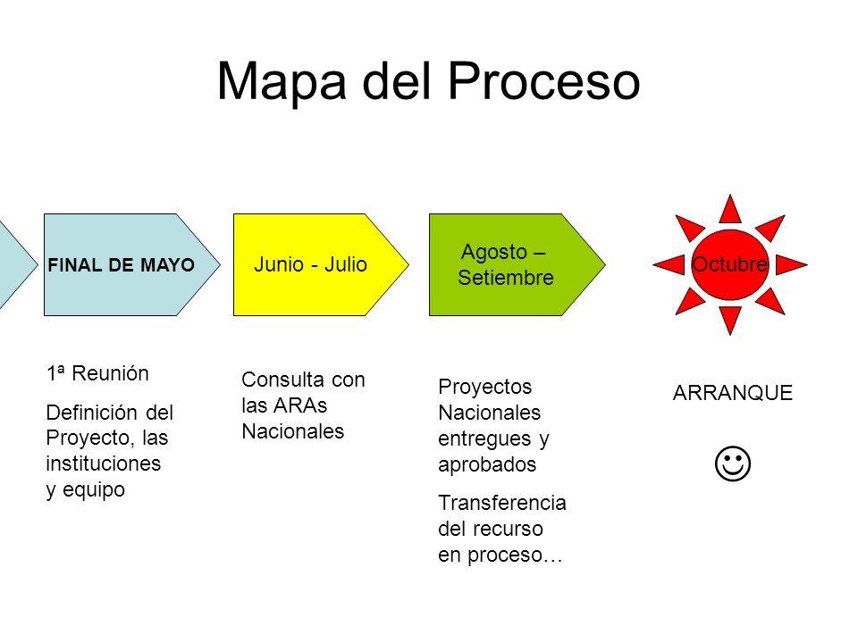Mapa del Proceso FINAL DE MAYO Agosto – Setiembre Junio - Julio 1ª Reunión Definición del Proyecto, las instituciones y equipo Consulta con las ARAs N