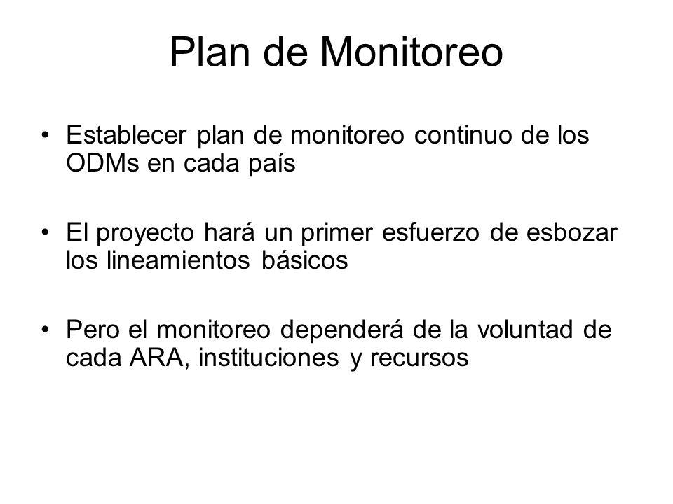 Establecer plan de monitoreo continuo de los ODMs en cada país El proyecto hará un primer esfuerzo de esbozar los lineamientos básicos Pero el monitoreo dependerá de la voluntad de cada ARA, instituciones y recursos