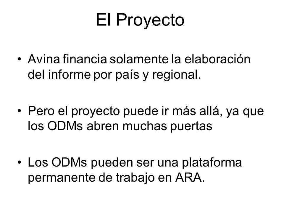 El Proyecto Avina financia solamente la elaboración del informe por país y regional. Pero el proyecto puede ir más allá, ya que los ODMs abren muchas