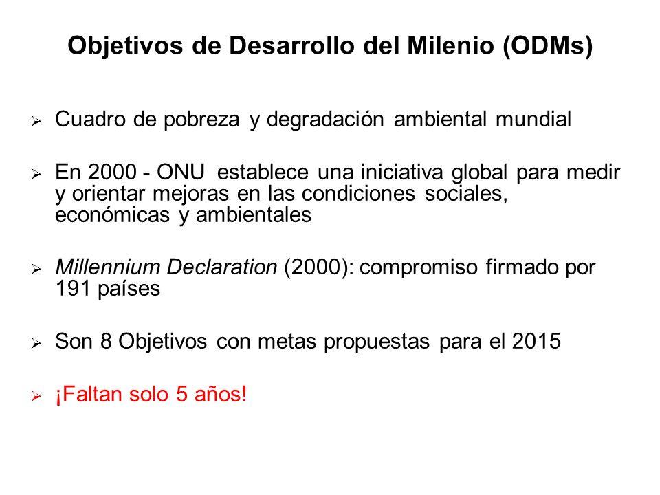 Objetivos de Desarrollo del Milenio (ODMs) Cuadro de pobreza y degradación ambiental mundial En 2000 - ONU establece una iniciativa global para medir