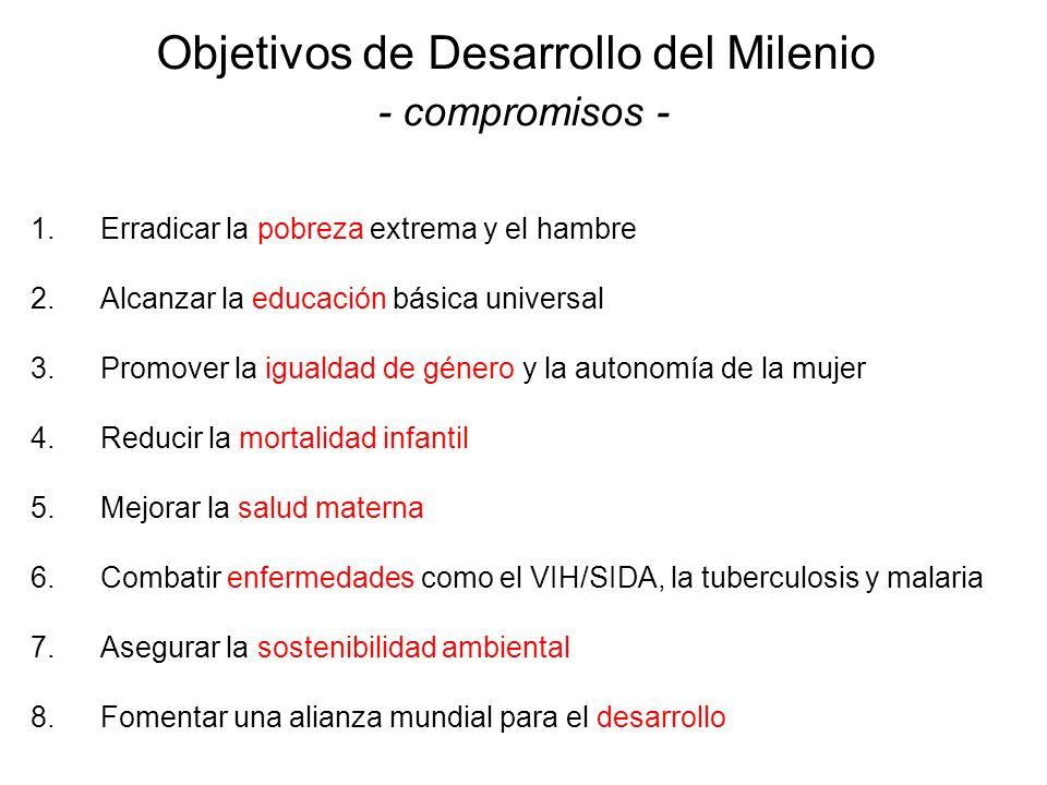 Objetivos de Desarrollo del Milenio - compromisos - 1.Erradicar la pobreza extrema y el hambre 2.Alcanzar la educación básica universal 3.Promover la