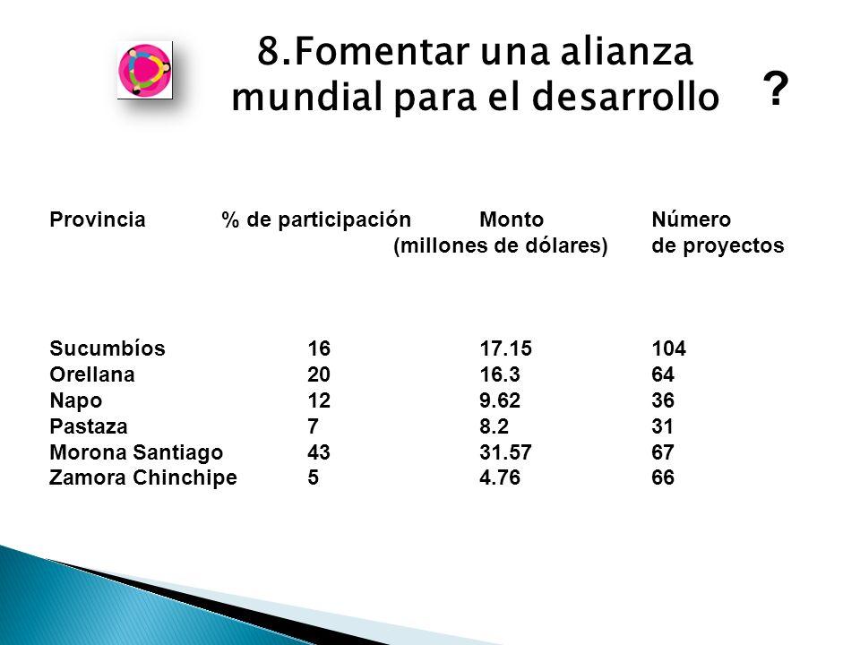 8.Fomentar una alianza mundial para el desarrollo Provincia % de participación MontoNúmero (millones de dólares) de proyectos Sucumbíos 16 17.15 104 Orellana 20 16.3 64 Napo 12 9.62 36 Pastaza 7 8.2 31 Morona Santiago 43 31.57 67 Zamora Chinchipe 5 4.76 66
