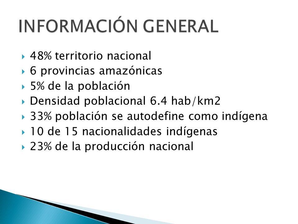 48% territorio nacional 6 provincias amazónicas 5% de la población Densidad poblacional 6.4 hab/km2 33% población se autodefine como indígena 10 de 15 nacionalidades indígenas 23% de la producción nacional