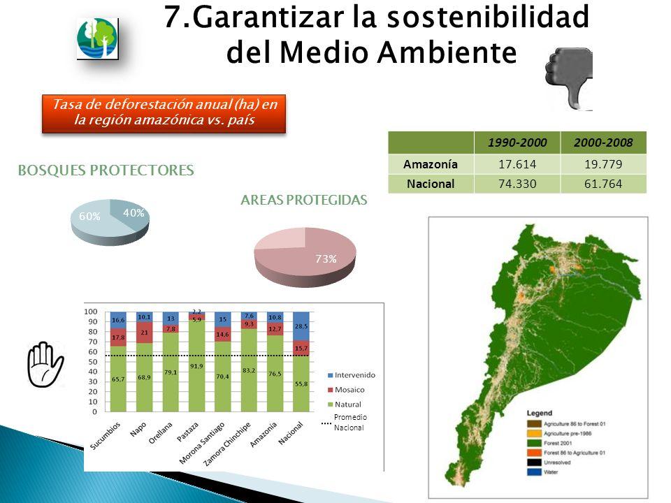 Tasa de deforestación anual (ha) en la región amazónica vs.