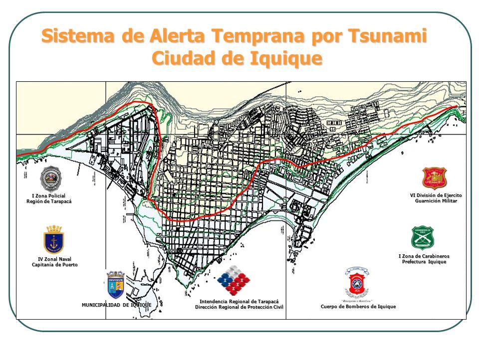 Sistema de Alerta Temprana por Tsunami Ciudad de Iquique Cuerpo de Bomberos de Iquique I Zona de Carabineros Prefectura Iquique I Zona Policial Región
