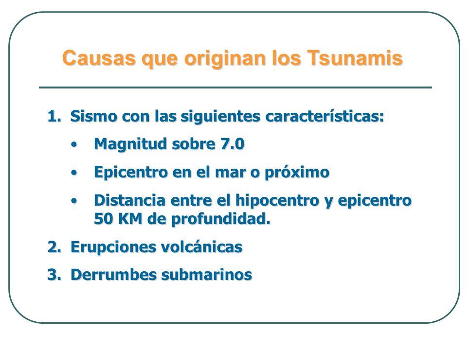 Causas que originan los Tsunamis 1.Sismo con las siguientes características: Magnitud sobre 7.0Magnitud sobre 7.0 Epicentro en el mar o próximoEpicent