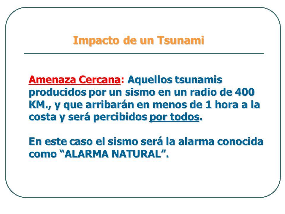 Impacto de un Tsunami Amenaza CercanaAquellos tsunamis producidos por un sismo en un radio de 400 KM., y que arribarán en menos de 1 hora a la costa y