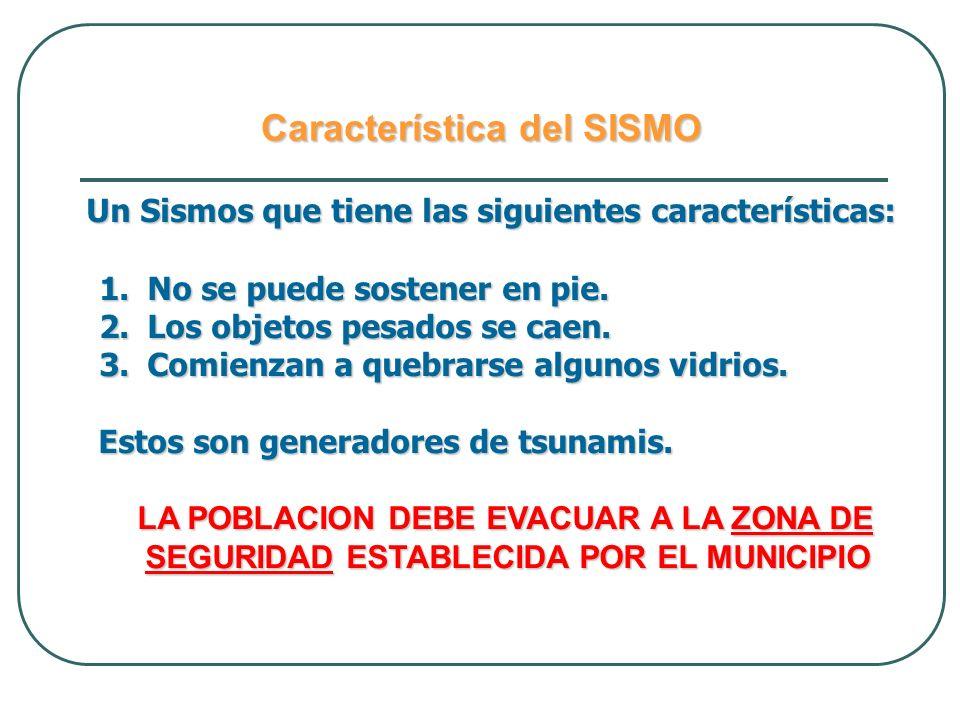 Característica del SISMO Un Sismos que tiene las siguientes características: Un Sismos que tiene las siguientes características: 1.No se puede sostene