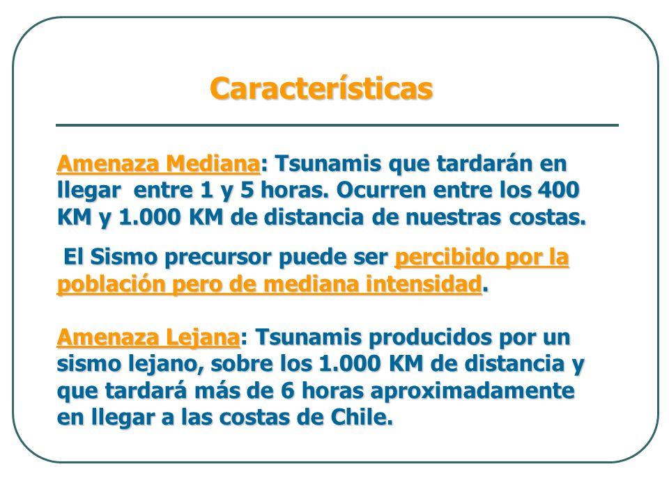 Amenaza LejanaTsunamis producidos por un sismo lejano, sobre los 1.000 KM de distancia y que tardará más de 6 horas aproximadamente en llegar a las co