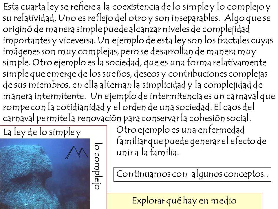 La ley de lo simple y lo complejo Explorar qué hay en medio Esta cuarta ley se refiere a la coexistencia de lo simple y lo complejo y su relatividad.