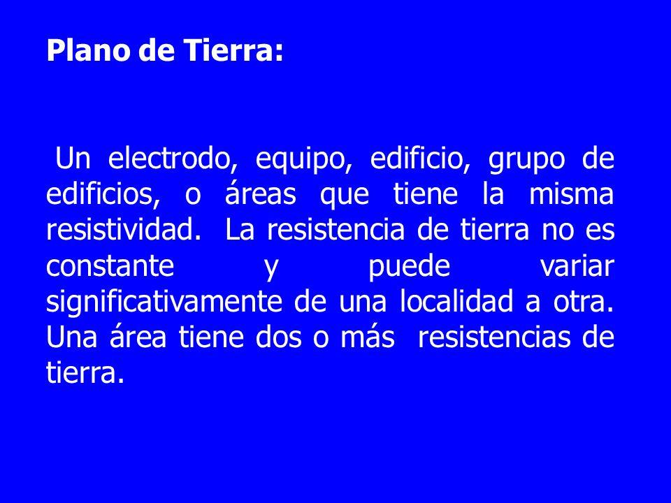 Plano de Tierra: Un electrodo, equipo, edificio, grupo de edificios, o áreas que tiene la misma resistividad. La resistencia de tierra no es constante