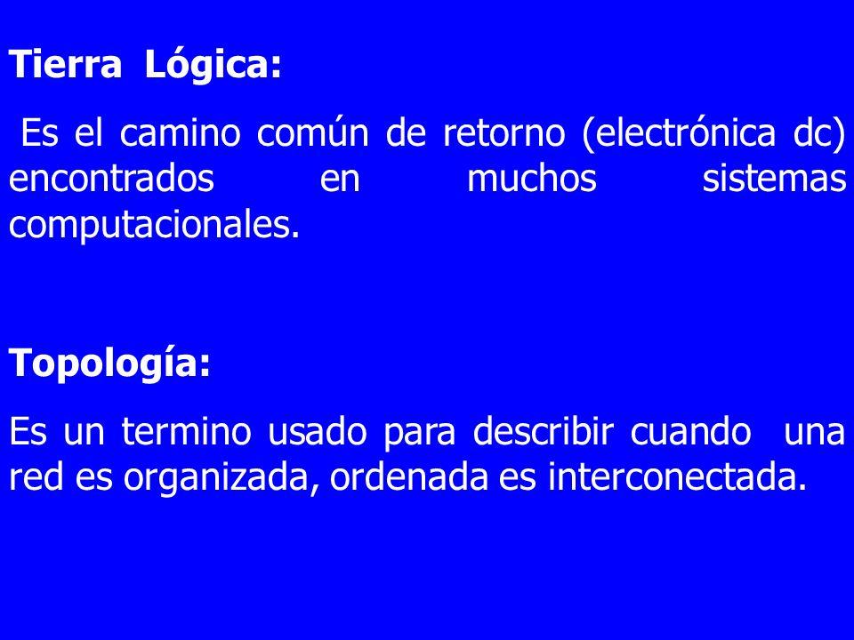 Tierra Lógica: Es el camino común de retorno (electrónica dc) encontrados en muchos sistemas computacionales. Topología: Es un termino usado para desc