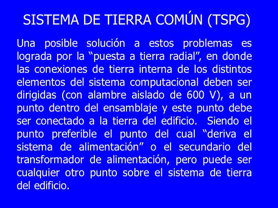 SISTEMA DE TIERRA COMÚN (TSPG) Una posible solución a estos problemas es lograda por la puesta a tierra radial, en donde las conexiones de tierra inte