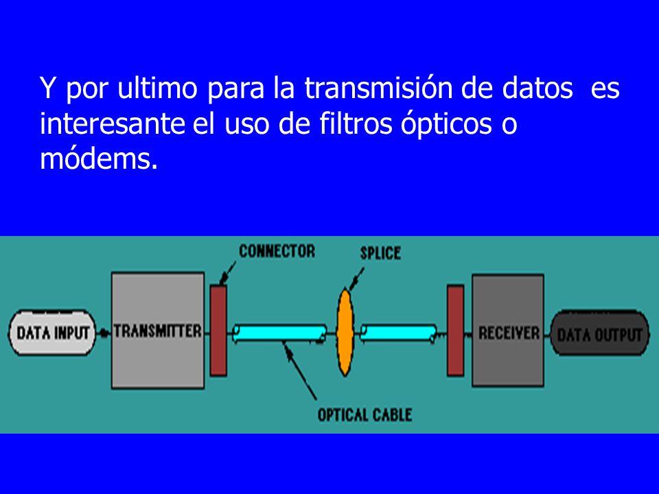 Y por ultimo para la transmisión de datos es interesante el uso de filtros ópticos o módems.